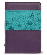 God Saw All That He Had Made Bible Cover, Purple and Teal, X-Large