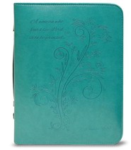 A Woman Who Fears the Lord is To Be Praised Bible Cover, Teal, Medium