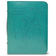 A Woman Who Fears the Lord is To Be Praised Bible Cover, Teal, Large