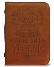 Matthew 18:20 Bible Cover, Brown, Large