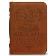 Matthew 18:20 Bible Cover, Brown, X-Large