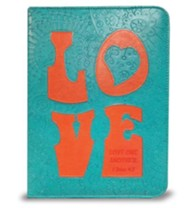 Love Bible Cover, Teal and Orange, Medium
