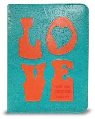 Love Bible Cover, Teal and Orange, X-Large