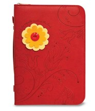 Floral Bible Cover, Red with Yellow and Orange Flower, X-Large