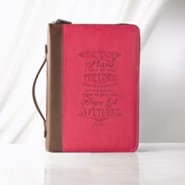 For I Know the Plans Bible Cover, Lux-Leather, Pink, Medium