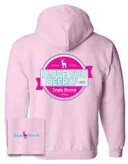 Love You Dearly Hooded Sweatshirt, Pink, Large