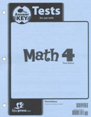 BJU Math Grade 4 Tests Pack Answer Key (Third Edition)