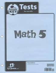 BJU Math Grade 5 Tests Answer Key, Third Edition