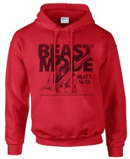 Beast Mode Hooded Sweatshirt, Red, Large
