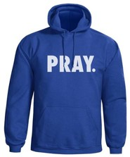Pray Hooded Sweatshirt, Blue, Medium