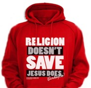 Jesus Saves Hooded Sweatshirt, Red, Small
