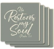 He Restores My Soul Coasters, Set of 4
