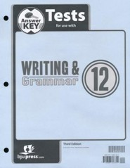 BJU Press Writing & Grammar Test Key, Grade 12, 3rd Edition