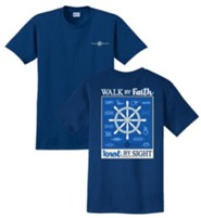 Walk By Faith, Knot By Sight Shirt, Navy, XX-Large