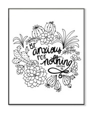 Be Anxious For Nothing, Coloring Wall Art, Large