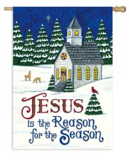 Jesus is the Reason for the Season, Country Church, Flag, Large