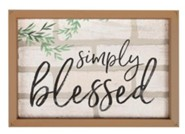 Simply Blessed, Framed Faux Brick Sign
