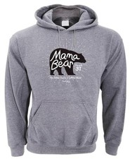 Mama Bear, Hooded Sweatshirt, Gray, Medium