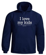 I Love My Kids, Hooded Sweatshirt, Navy, Large