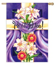 He Is Risen, Floral Cross Flag, Large
