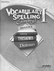 Abeka Grade 7 Vocabulary, Spelling, Poetry 1 Quizzes (6th  Edition)