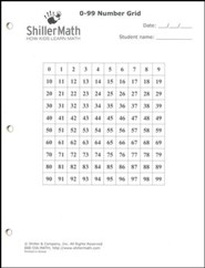 ShillerMath 24-Page 0-99 Number Grid Worksheets Pad