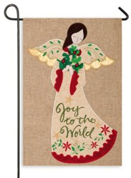 Joy to the World, Burlap with Angel, Flag, Small