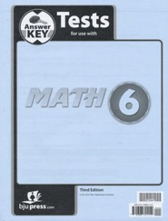 BJU Math Grade 6 Test Pack Answer Key (Third Edition)