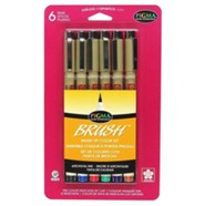 Pigma Brush Pens, Set of 6, Assorted Colors