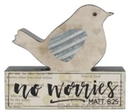 No Worries Bird on Block Figurine