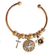 Peace, Dove, Cuff Bracelet with Cross, Gold