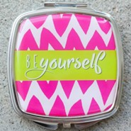 Be Yourself Chevron Compact Mirror, Pink & Lime