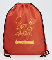 Jesus, My Savior and Friend, Drawstring Backpack, Red