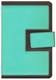 Imitation Leather Blue / Brown Large Print Book Red Letter Thumb Index Magnetic Flap