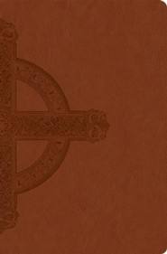 NLT Premium Value Slimline Bible, Large Print, Cross, Imitation Leather, Sienna with Cross Design  -