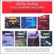 Getty-Dubay Italic Handwriting Series Blackline Masters PDF CD-ROM