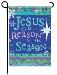 Jesus is the Reason for the Season Glitter Flag, Garden Size