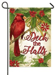 Deck the Halls, Crimson Christmas Flag, Small