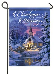 Christmas Blessings, Country Church Flag, Small