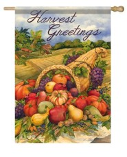 Harvest Greetings, Cornucopia Flag, Large