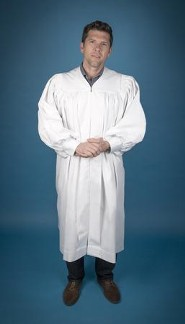 Pastor's Baptismal Robe, X-Tall, Large Yoke, White