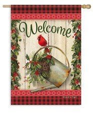 Christmas Welcome Flag, Cardinal & Watering Can, Large