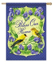 Bless Our Home, Goldfinch Flag, Large
