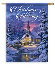 Christmas Blessings, Country Church Flag, Large