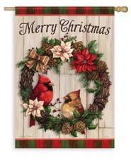 Merry Christmas, Cardinal Wreath Flag, Large