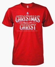 Christmas Begins With Christ, Short Sleeve Tee Shirt, Red, Large