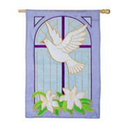Dove on Cross Applique Flag, Large