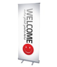 Smiley Welcome (31 inch x 79 inch) RollUp Banner