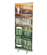 Phrases Welcome (31 inch x 79 inch) RollUp Banner