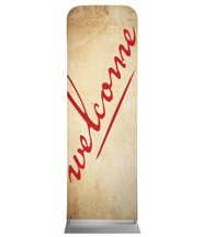 Red Script Welcome 2' x 6' Fabric Sleeve Banner